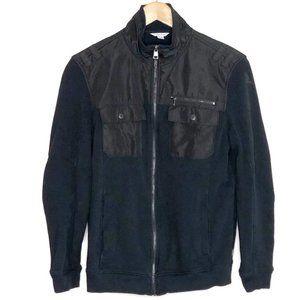 Calvin Klein Black Zip Up Cotton Dressy Jacket